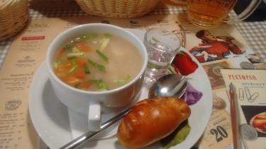 Fish soup with vodka shot